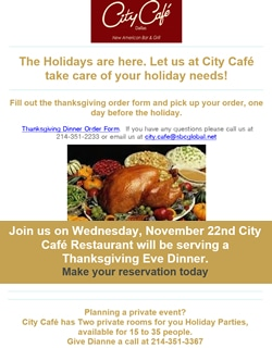 City Cafe Thanksgiving