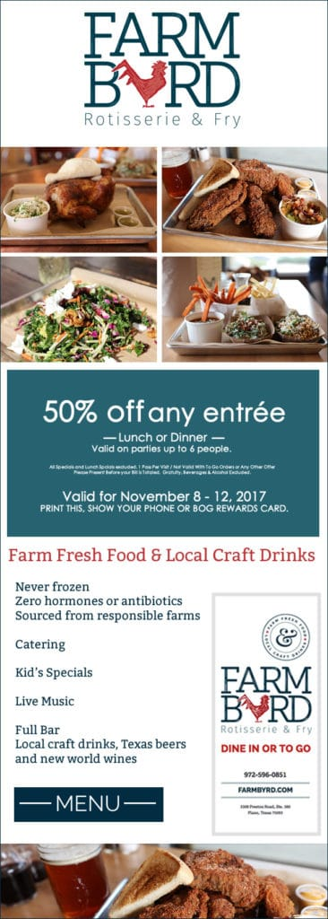 FarmByrd Half Off Entrees