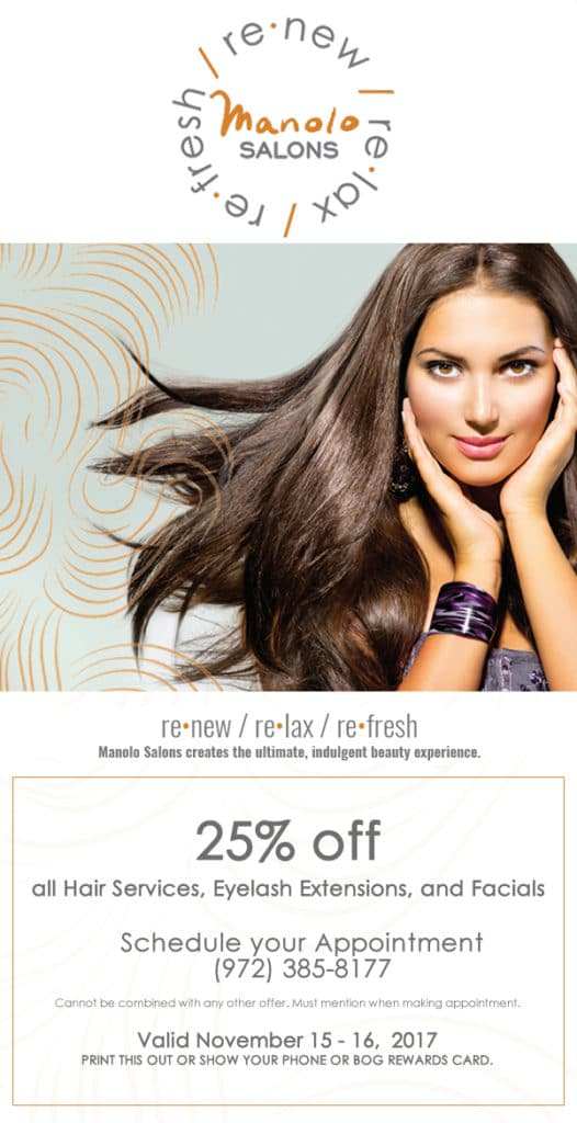 Manolo Salons 25% off all Services